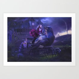 Writing Desk Raven Art Print