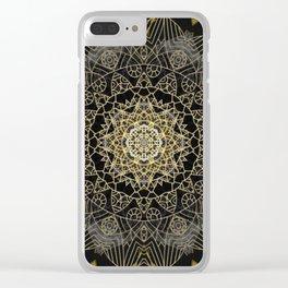 Bohemian Gold Brushed Mandala design Clear iPhone Case