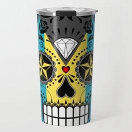 Sugar Skull with Roses and Flag of Bahamas Travel Mug