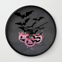 halloween Wall Clocks featuring Halloween by mark ashkenazi