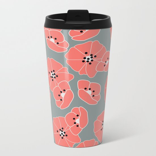 Retro bloom 002 Metal Travel Mug