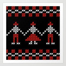 Traditional Romanian dancing people cross-stitch motif black Art Print