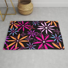 Abstract Floral Daisy Flower Pattern Multi Color Art by Megan Duncanson MADART Rug