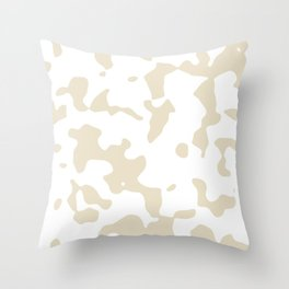 Large Spots - White and Pearl Brown Throw Pillow