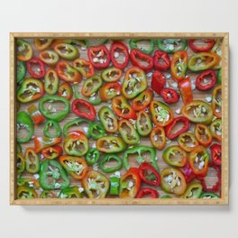 Sliced red and green chili peppers Serving Tray