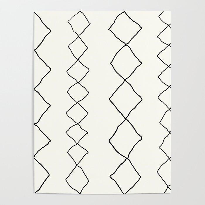 Moroccan Diamond Stripe in Black and White