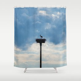 A Stork among the Clouds Shower Curtain