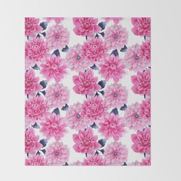 Blush pink hand painted watercolor modern floral pattern Throw Blanket