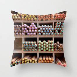 Coloured pencils Throw Pillow