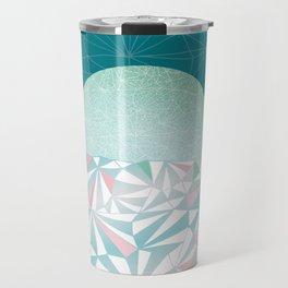 Geometric Sunrise - Teal and Pink Travel Mug
