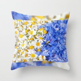 Blue cornflower and white chamomile Throw Pillow