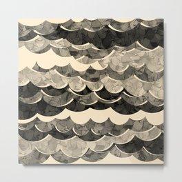 Abstract Beige Sea Waves Design Metal Print