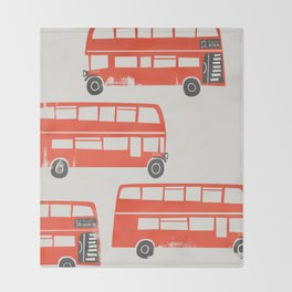 London Double Decker Red Bus Throw Blanket