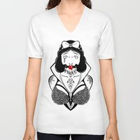 bondage V-neck T-shirts featuring Snow Bondage Princess by Punk-O-Punx