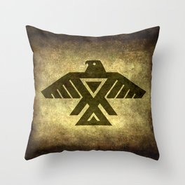 Symbol of the Anishinaabe, Ojibwe (Chippewa) on  parchment Throw Pillow