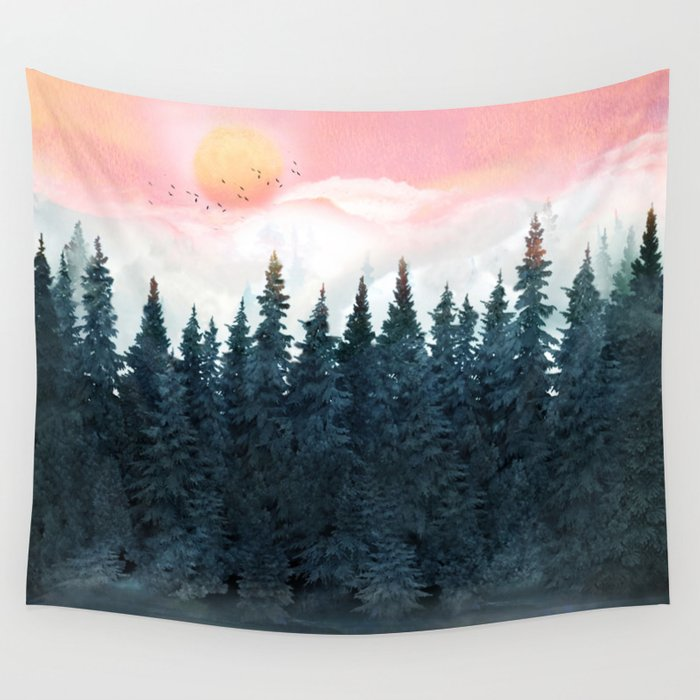 Forest Under the Sunset Wall Tapestry