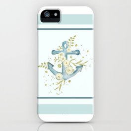 Blue anchor and flowers iPhone Case