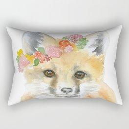Fox Floral Watercolor Painting Rectangular Pillow