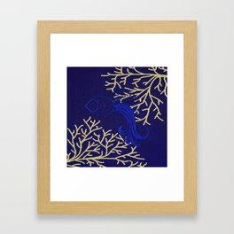 V4 Fish in Sea Moroccan Texture Design. Framed Art Print