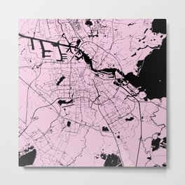 Amsterdam Pink on Black Street Map Metal Print