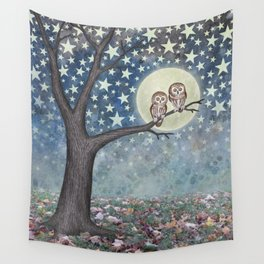 northern saw whet owls under the stars Wall Tapestry