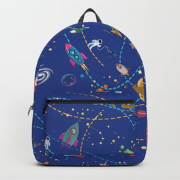 Space Rocket Pattern Backpack