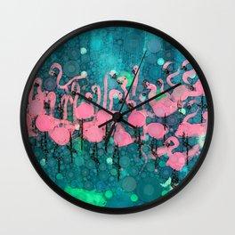 :: Flamingos Among Us :: Wall Clock