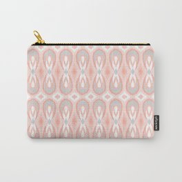 Ikat Teardrops in Pale Peach and Gray Carry-All Pouch