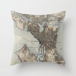 Vintage Map of Seattle Washington (1908) Throw Pillow
