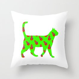 Snowman Cat Red Throw Pillow
