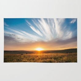 Grand Exit - Golden Sunset on the Oklahoma Prairie Rug