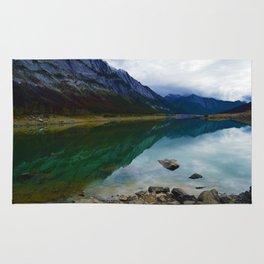 Reflections in Medicine Lake in Jasper National Park, Canada Rug