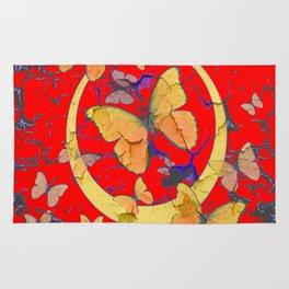 SHABBY CHIC GOLDEN BUTTERFLIES & RED ABSTRACT ART Rug