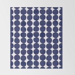 Midcentury Modern Dots Navy Throw Blanket