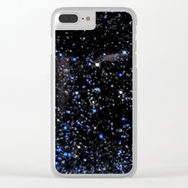 Blue Goldstone Clear iPhone Case