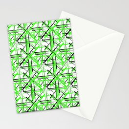 Intersecting light green lines with a black diagonal on a white background. Stationery Cards