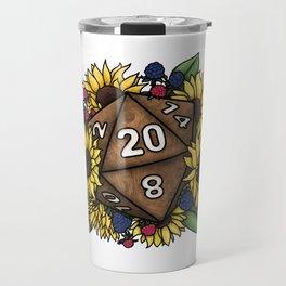 Sunflower D20 Tabletop RPG Gaming Dice Travel Mug