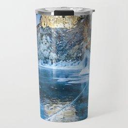 Blue Ice of the Lake Baikal Travel Mug