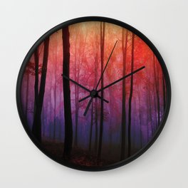 Whispering Woods, Colorful Landscape Art Wall Clock