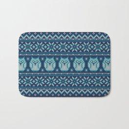 Owls winter knitted pattern Bath Mat