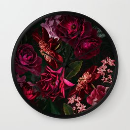 Vintage & Shabby Chic - Night Botanical Flower Roses Garden Wall Clock