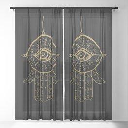 Hamsa Hand Gold on Black #1 #drawing #decor #art #society6 Sheer Curtain