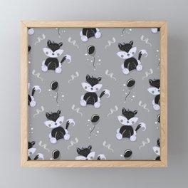 Happy Birthday Black Fox Grey Background Pattern Framed Mini Art Print