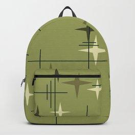 Mid Century Modern Stars Olive Green Backpack