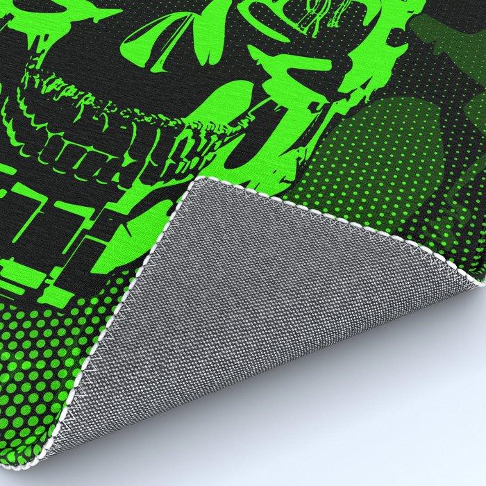 Gamer Skull CARTOON GREEN / 3D render of cyborg head Rug