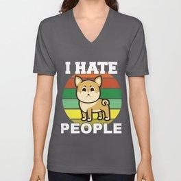 funny misanthrope t-shirt dog motif  Unisex V-Neck