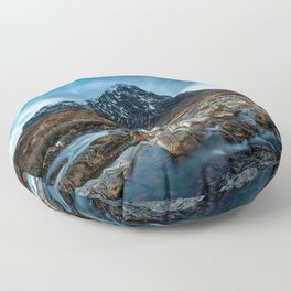 Mountain ice clouds blue Floor Pillow