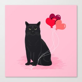 Black Cat valentines day balloons hearts cat breeds must have gifts valentine's day Canvas Print