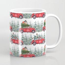 Cocker Spaniel in christmas car in winter forest Coffee Mug