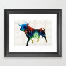 Bull Art Print – Love A Bull 2 – By Sharon Cummings Framed Art Print